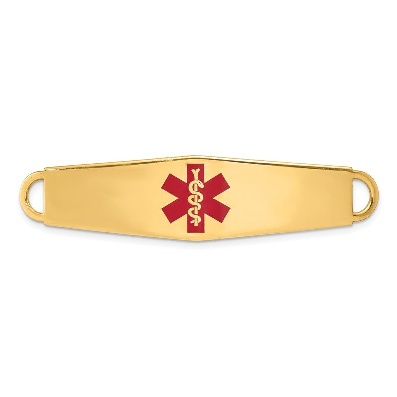 Quality Gold 14k Red Enamel Medical Jewelry ID Plate