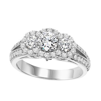 14K Diamond Engagement Ring with accent Sapphires 1 gtw