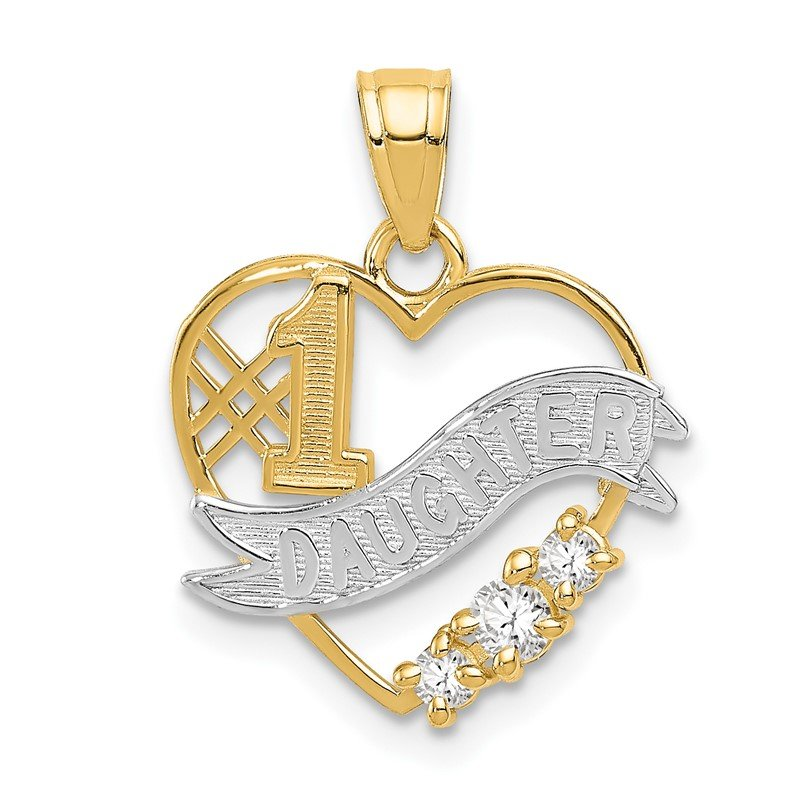 Quality Gold 14k w/Rhodium CZ #1 DAUGHTER Heart Pendant