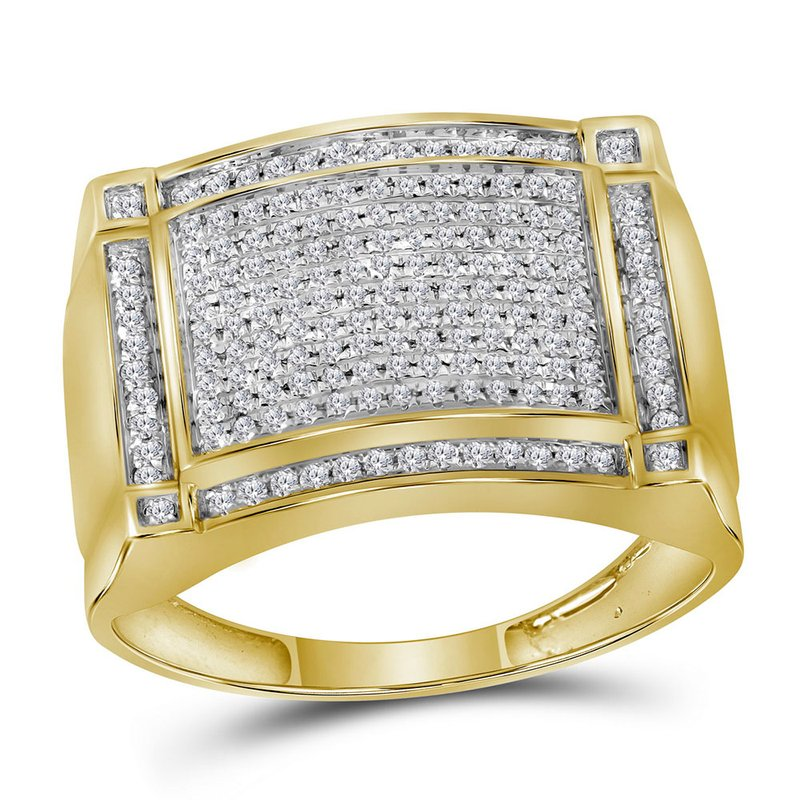 Gold-N-Diamonds, Inc. (Atlanta) 10kt Yellow Gold Mens Round Diamond Rectangle Cluster Ring 1/2 Cttw