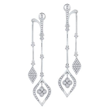 14K Diamond Leaf Shape Front / Back Earrings