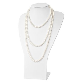 9-10mm White Semi-round Freshwater Cultured Pearl Endless Necklace