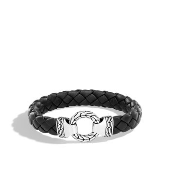 Classic Chain 12MM Ring Clasp Bracelet in Silver and Leather
