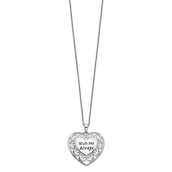 Sterling Silver Antiqued With Me Always 18in Heart Necklace