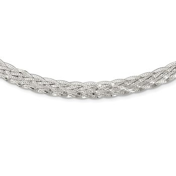 Sterling Silver 6.75mm Braided Fancy Necklace