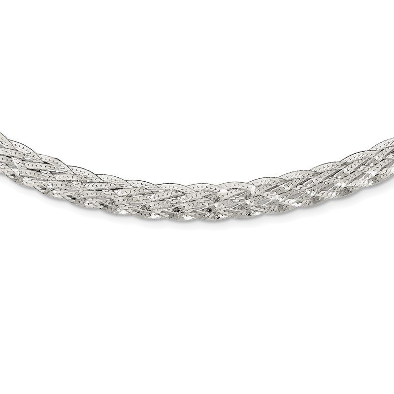 Quality Gold Sterling Silver 6.75mm Braided Fancy Necklace