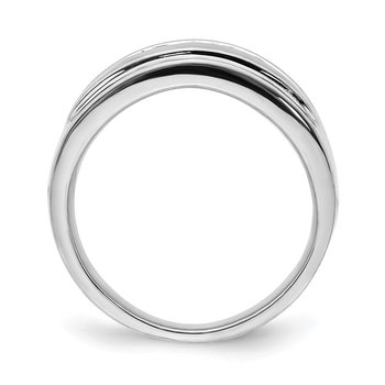 14k White Gold Diamond Mens 5-stone Ring