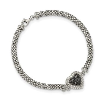 Sterling Silver Black Sapphire Heart Mesh Link Necklace