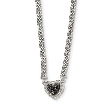 Sterling Silver Black Sapphire Heart Mesh Link 18 inch Necklace