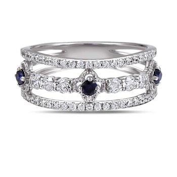 14K Antique design ring 53 Diamonds 0.58C & 3 Sapphires 0.20C