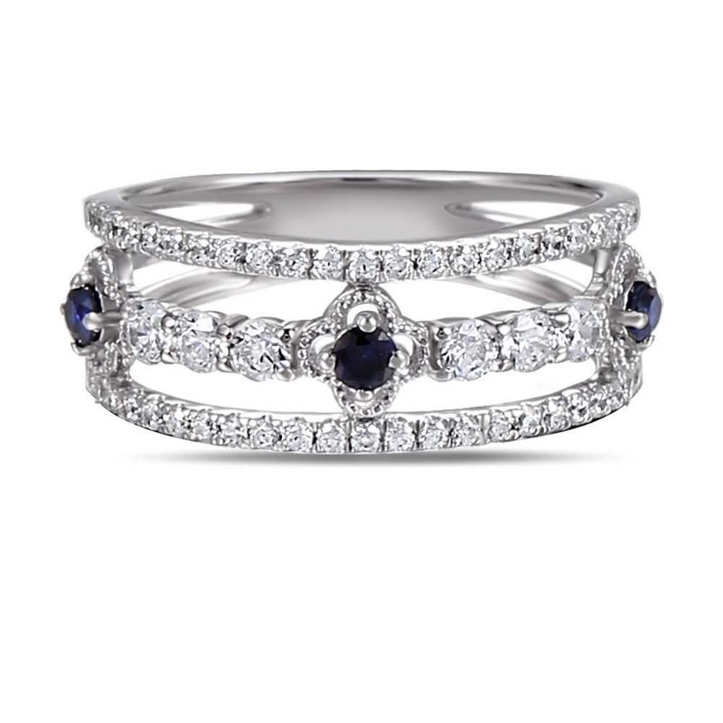 Shula NY 14K Antique design ring 53 Diamonds 0.58C & 3 Sapphires 0.20C