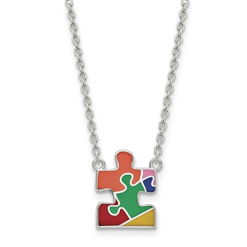 Quality Gold Sterling Silver Rhod-plated Enameled Autism Puzzle Piece Necklace