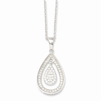 Sterling Silver & CZ Brilliant Embers Polished Teardrop Necklace