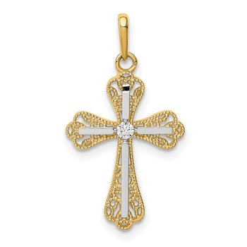 14K w/White Rhodium CZ Cross Pendant