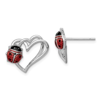 Sterling Silver Rhodium-plated Heart with Enameled Ladybug Post Earrings