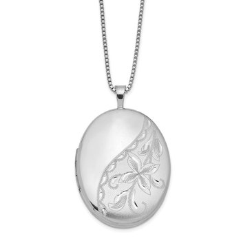 Sterling Silver Rhodium-plated 26mm Side Flowered Oval Locket