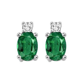 Oval Emerald & Diamond Earrings in 14K White Gold (1/14 ct. tw.)