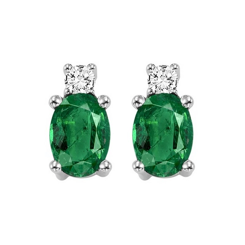 Gems One Oval Emerald & Diamond Earrings in 14K White Gold (1/14 ct. tw.)