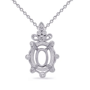 White Gold Diamond Pendant 9x7mm Oval