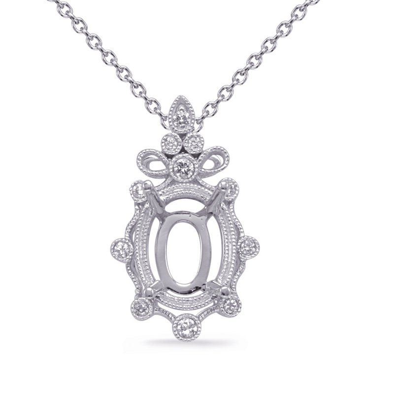 Briana White Gold Diamond Pendant 9x7mm Oval