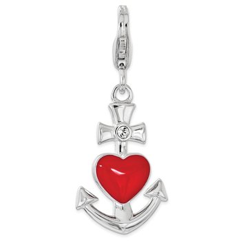 Sterling Silver Enameled w/Swarovski Anchor Heart Lobster Clasp Charm