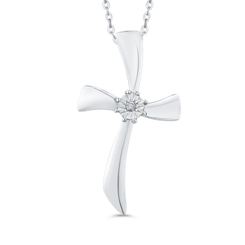 10K White Gold 0.01 Diamond Cross Pendant with Chain