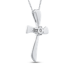 Essentials 10K White Gold 0.01 Diamond Cross Pendant with Chain