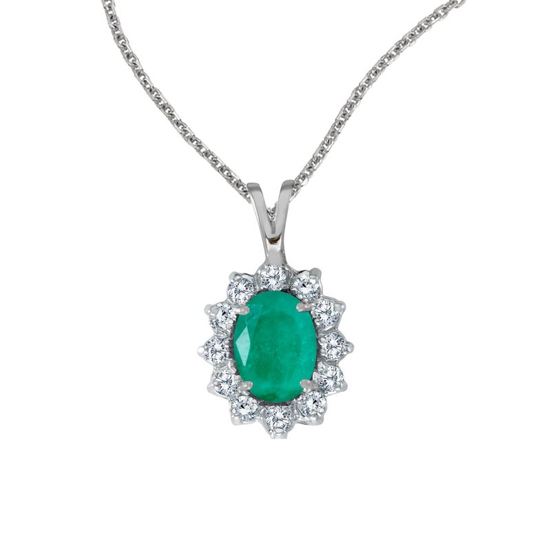 Color Merchants 14k White Gold Oval Emerald Pendant with Diamonds