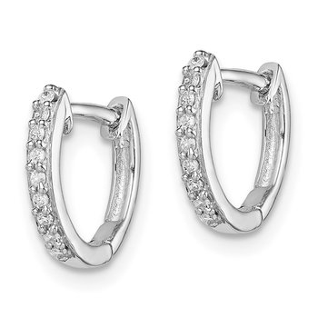 Sterling Silver Rhodium Diam. Huggie Earrings