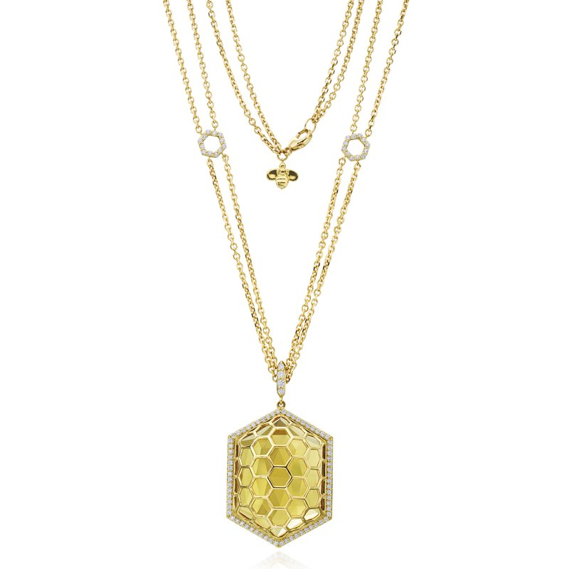 "Gumuchian Honeybee ""B"" Faceted Citrine Hexagon Medallion P464Y"