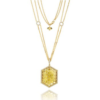 "Honeybee ""B"" Faceted Citrine Hexagon Medallion P464Y"