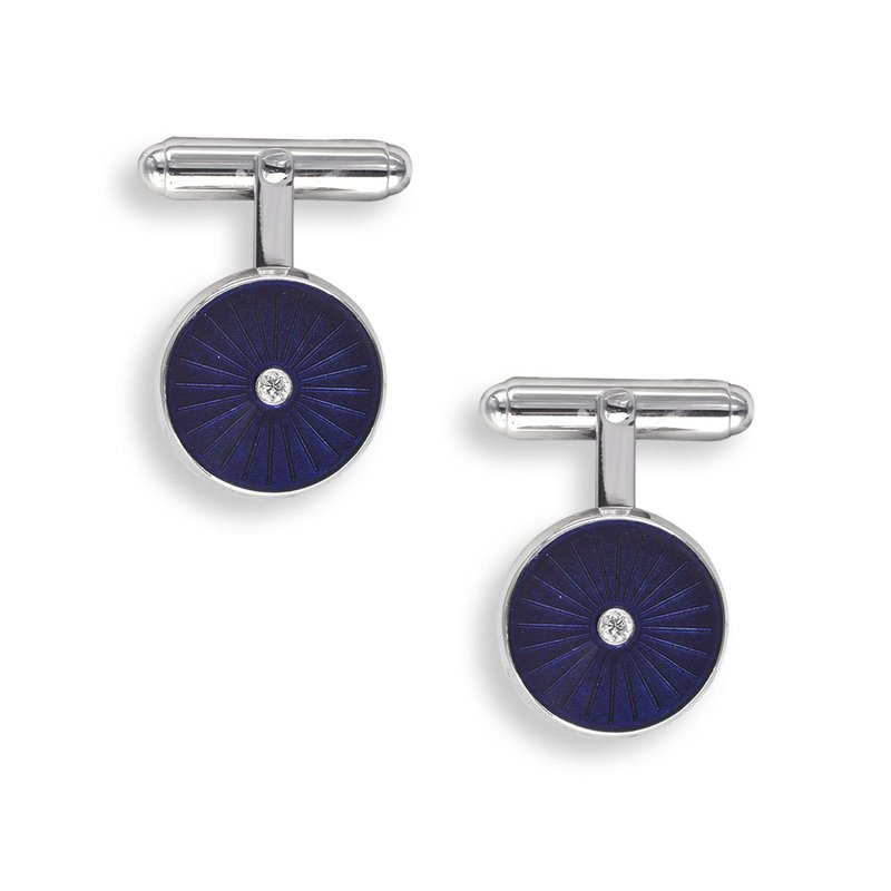 Nicole Barr Designs Purple Round T-Bar Cufflinks.Sterling Silver-Diamonds
