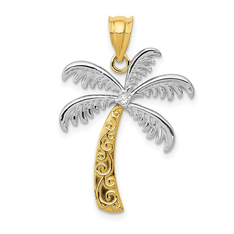 Quality Gold 14K w/Rhodium Diamond Palm Tree Pendant