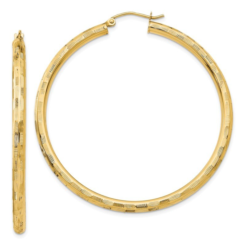 Quality Gold 14k Textured Hoop Earrings