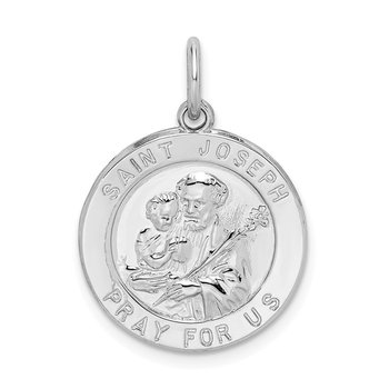 Sterling Silver Rhodium-plated Saint Joseph Medal