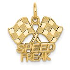 Quality Gold 14K Racing Flags SPEED FREAK Charm