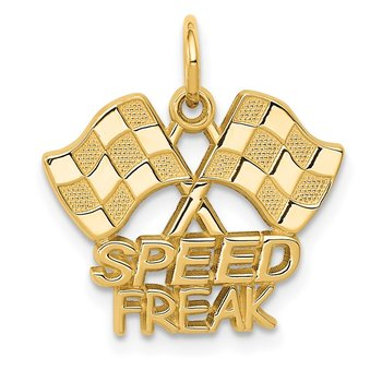 14K Racing Flags SPEED FREAK Charm