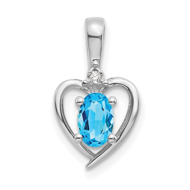 Quality Gold 14k White Gold Blue Topaz and Diamond Heart Pendant