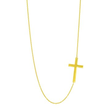 14K Gold Flat Cross Necklace