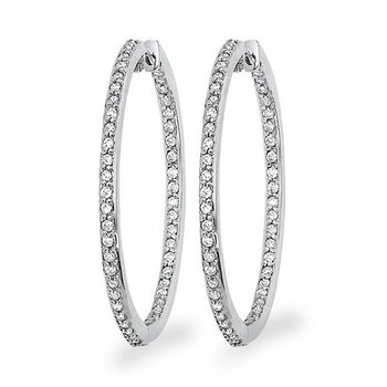 Diamond Inside Outside Hoop Earrings in 14k White Gold with 94 Diamonds weighing 1.00ct tw.