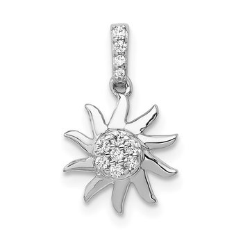 14k White Gold 1/15ct. Diamond Fancy Sun Pendant