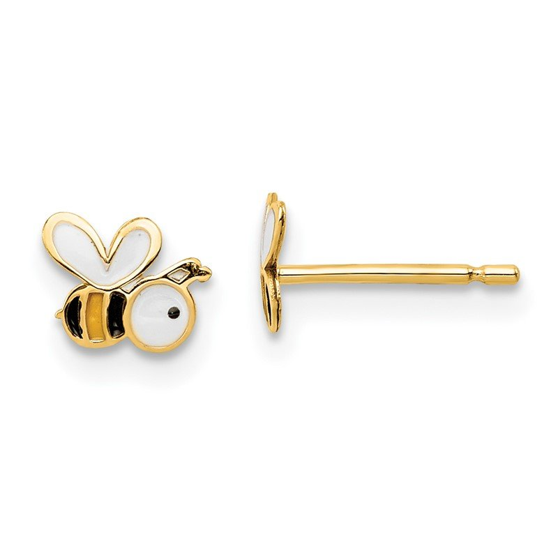 Quality Gold 14k Madi K Enamel Bumble Bee Post Earrings