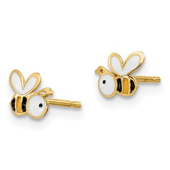 14k Madi K Enamel Bumble Bee Post Earrings