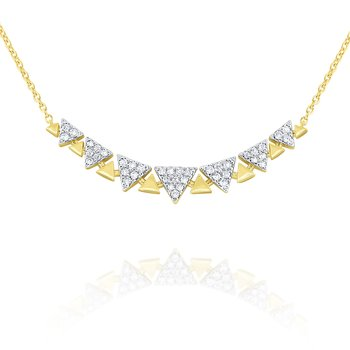 14k Gold and Diamond Geometric Curve Necklace