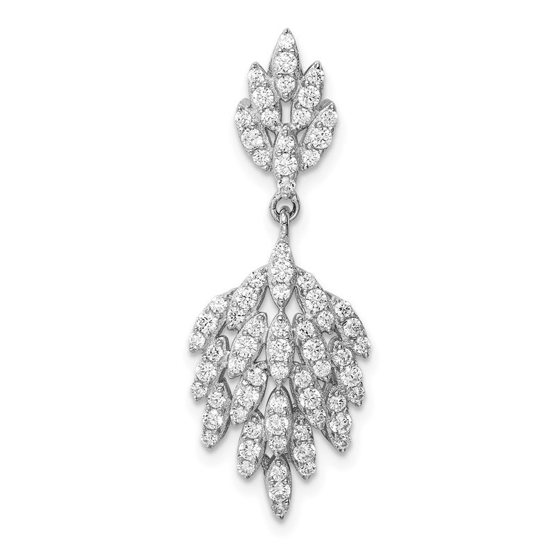 Quality Gold Sterling Silver Rhodium-plated CZ Leaf Dangle Pendant