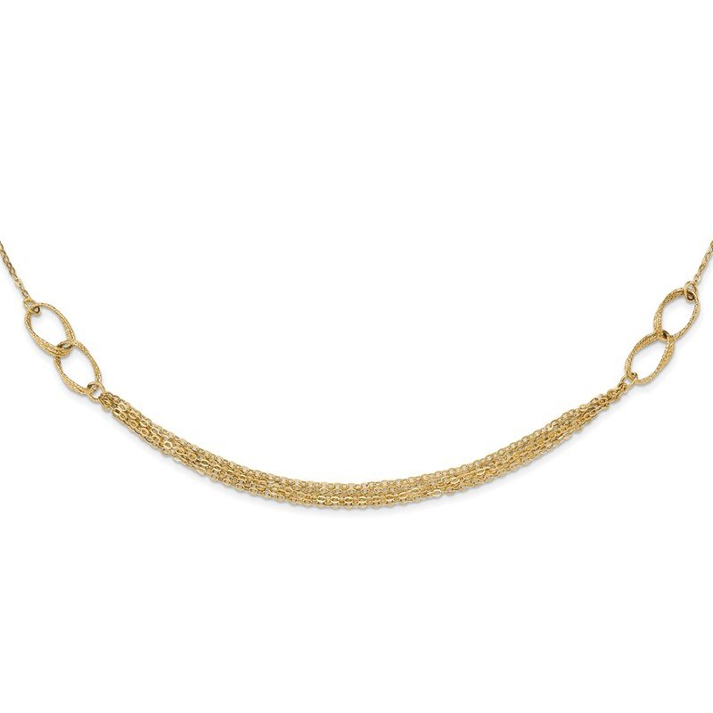 Quality Gold 14k Polished and Textured Fancy Link Necklace