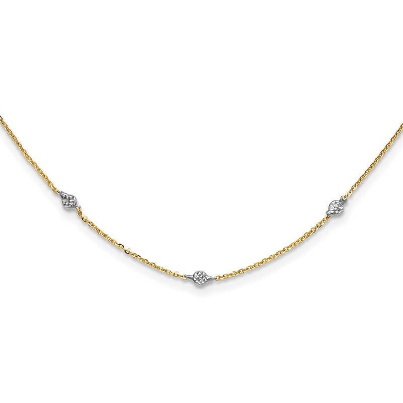 Quality Gold 14K & White Rhodium Polished & D/C w/2 in ext Necklace