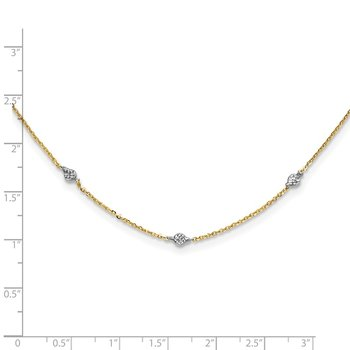 14K & White Rhodium Polished & D/C w/2 in ext Necklace