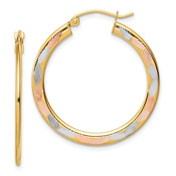 14k w/ White & Rose Rhodium Diamond-cut Hoop Earrings