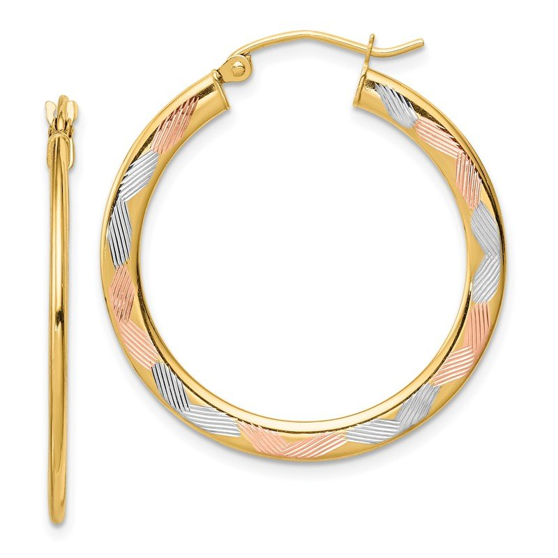 Quality Gold 14k w/ White & Rose Rhodium Diamond-cut Hoop Earrings